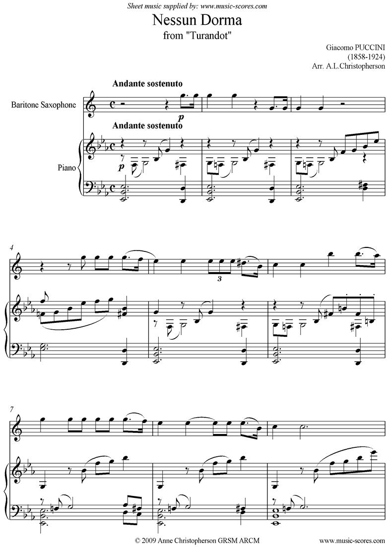 Turandot: Nessun Dorma: Baritone Sax by Puccini