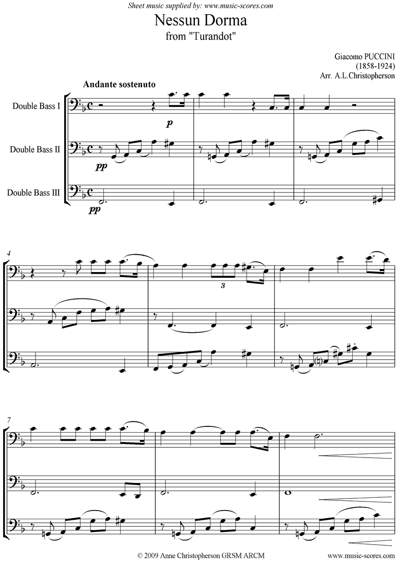 Front page of Turandot: Nessun Dorma: Double Bass Trio sheet music