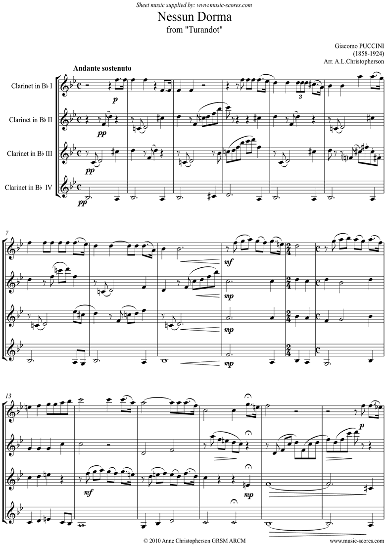Turandot: Nessun Dorma: 4 Clarinets by Puccini