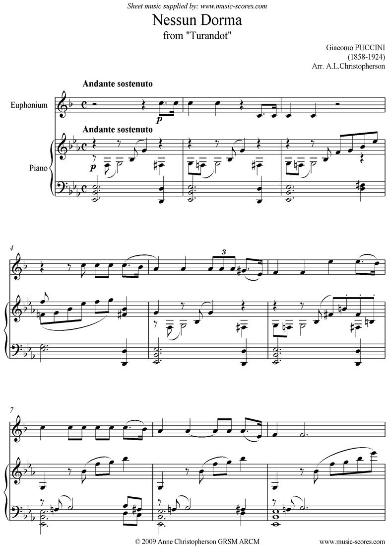Turandot: Nessun Dorma: Euphonium by Puccini