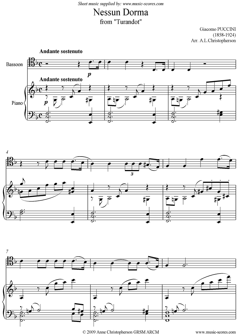 Front page of Turandot: Nessun Dorma: Bassoon sheet music