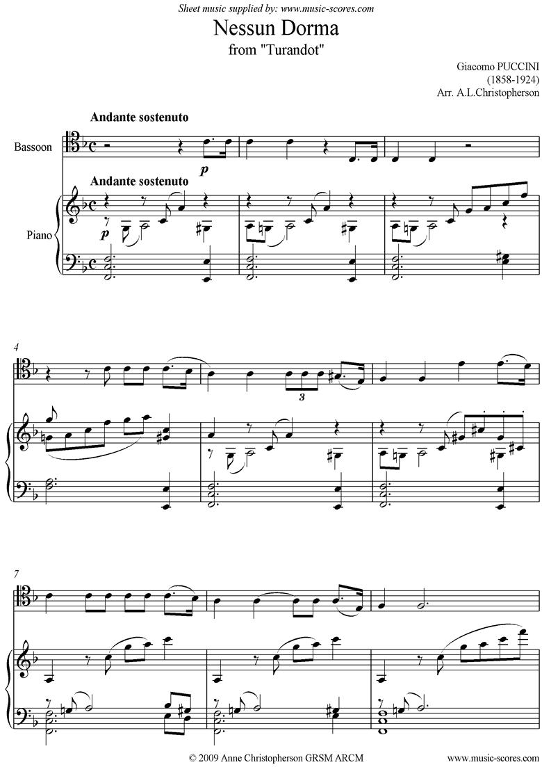 Turandot: Nessun Dorma: Bassoon by Puccini