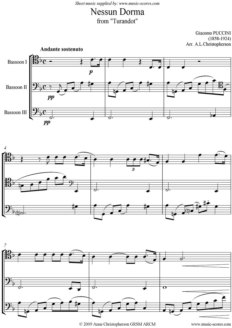 Turandot: Nessun Dorma: Bassoon Trio by Puccini