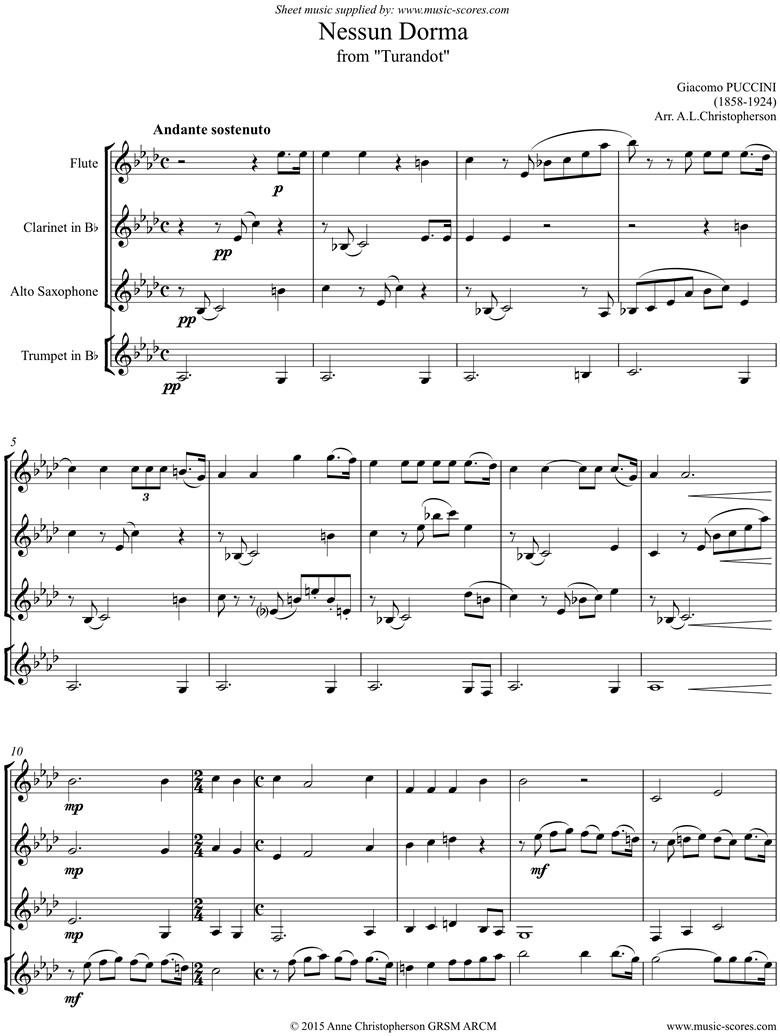 Front page of Turandot: Nessun Dorma: Flute, Clarinet, Alto Sax, Trumpet sheet music