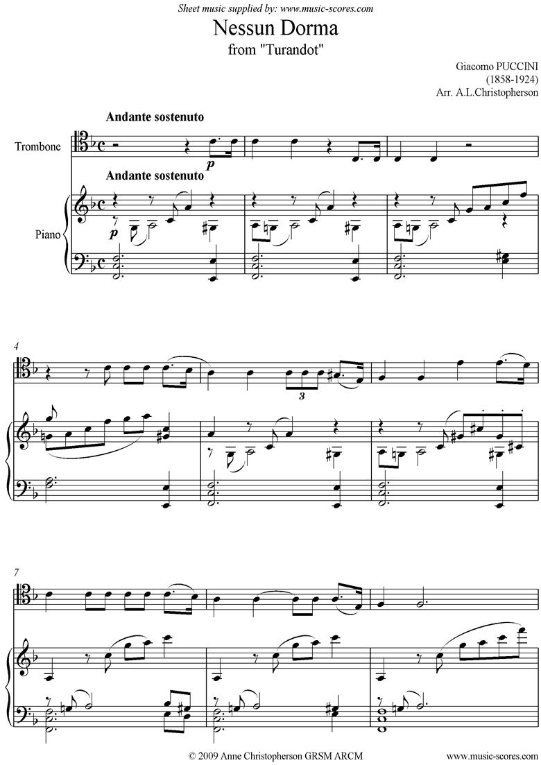Turandot: Nessun Dorma: Trombone by Puccini
