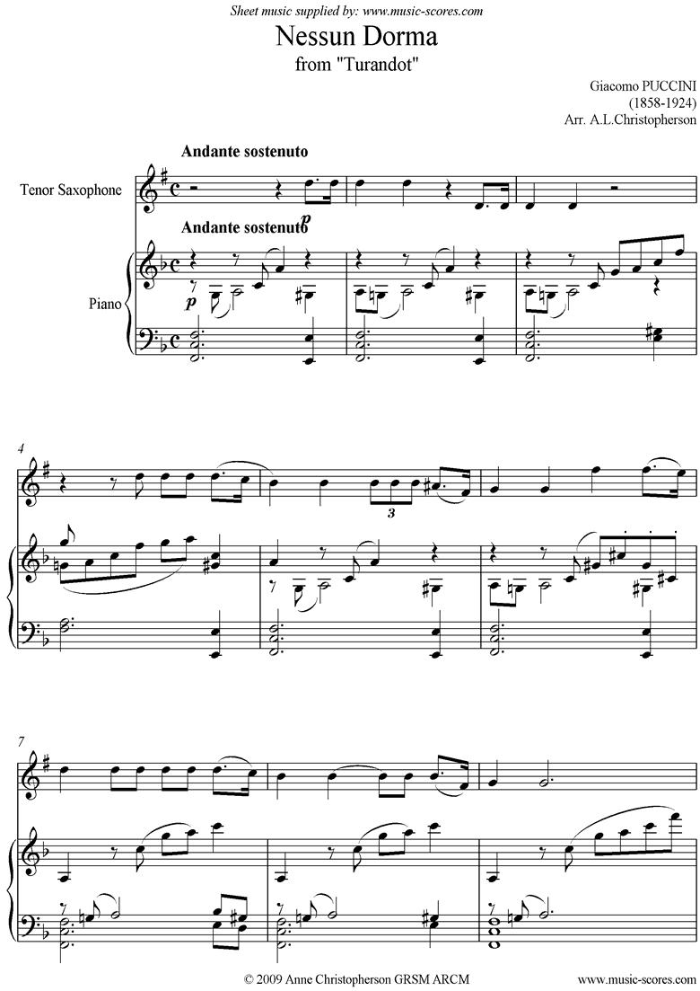 Turandot: Nessun Dorma: Tenor Sax by Puccini