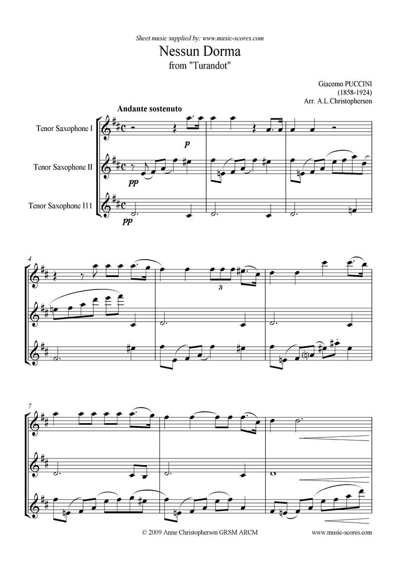 Turandot: Nessun Dorma: Tenor Sax Trio by Puccini
