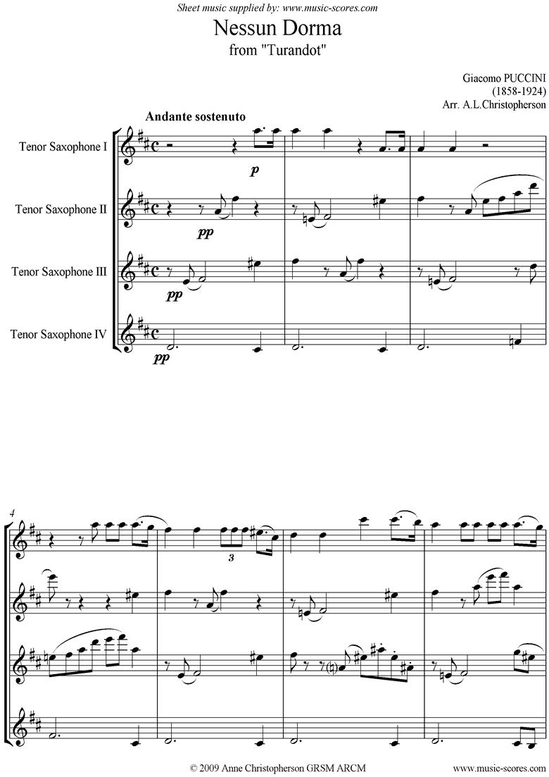 Turandot: Nessun Dorma: Tenor Sax Quartet by Puccini