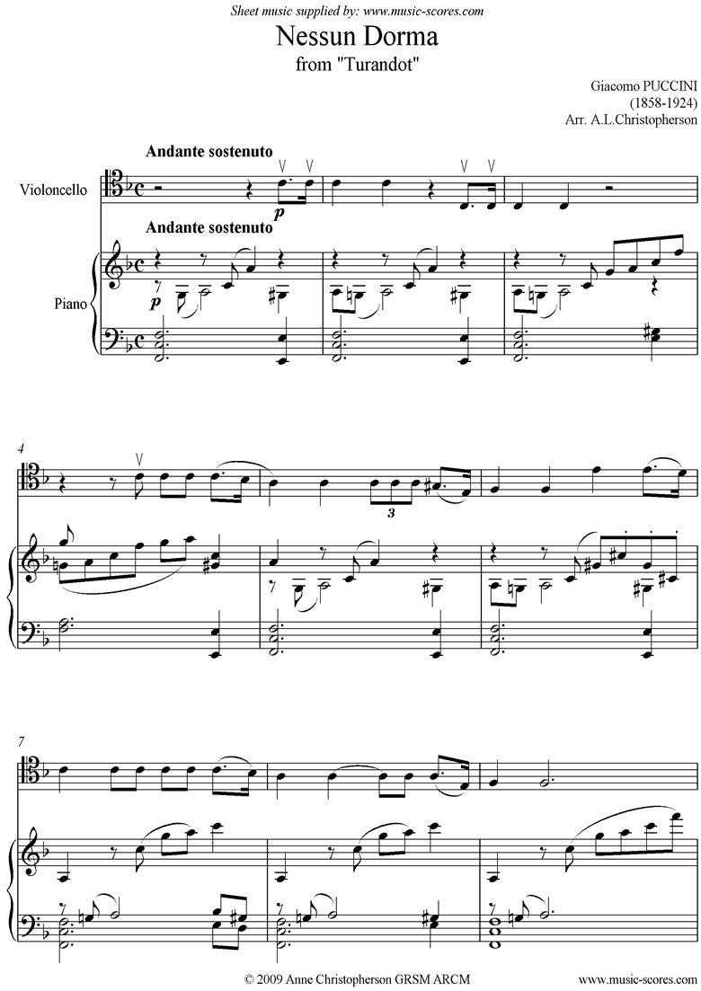 Turandot: Nessun Dorma: Cello by Puccini