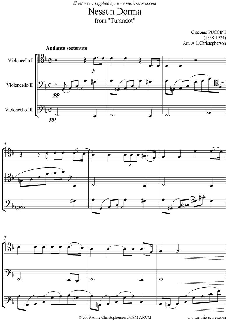 Turandot: Nessun Dorma: Cello Trio by Puccini