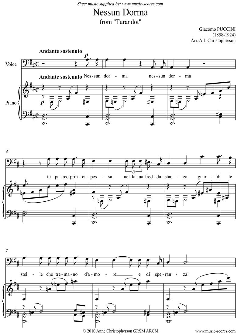 Turandot: Nessun Dorma: Voice: Dma by Puccini