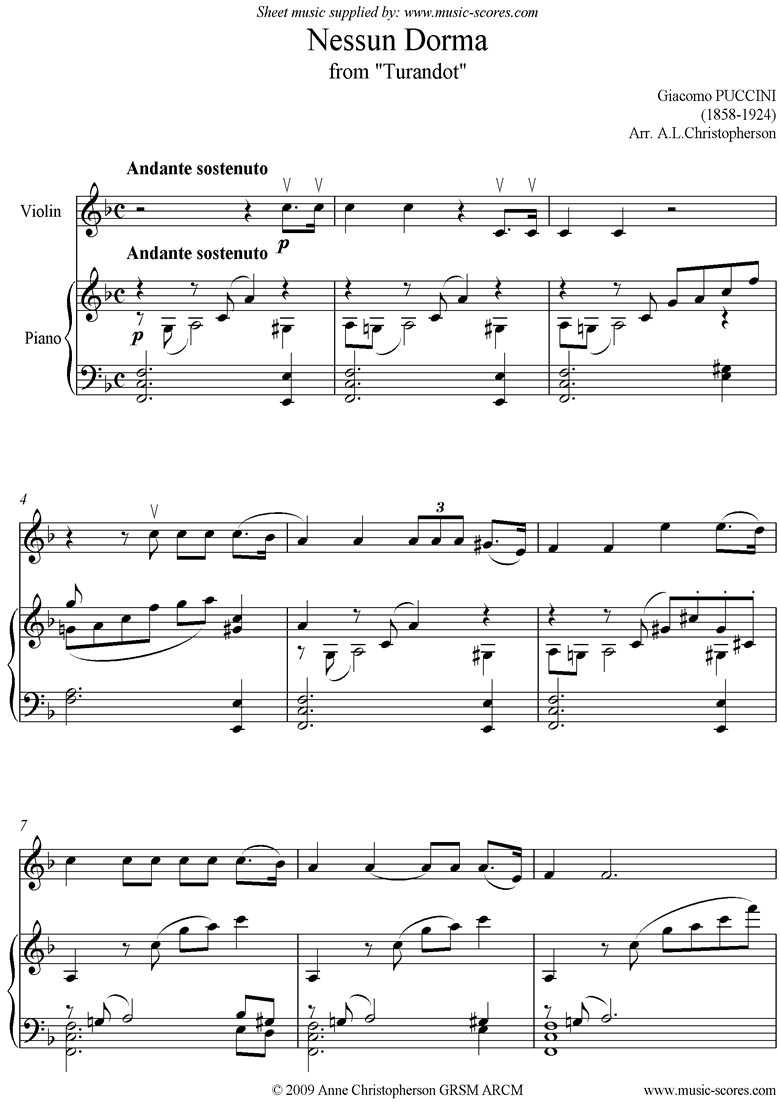 Front page of Turandot: Nessun Dorma: Violin sheet music