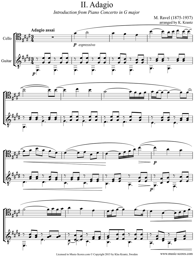Front page of Piano Concerto in G ma, 2nd mvt: Cello, Guitar sheet music