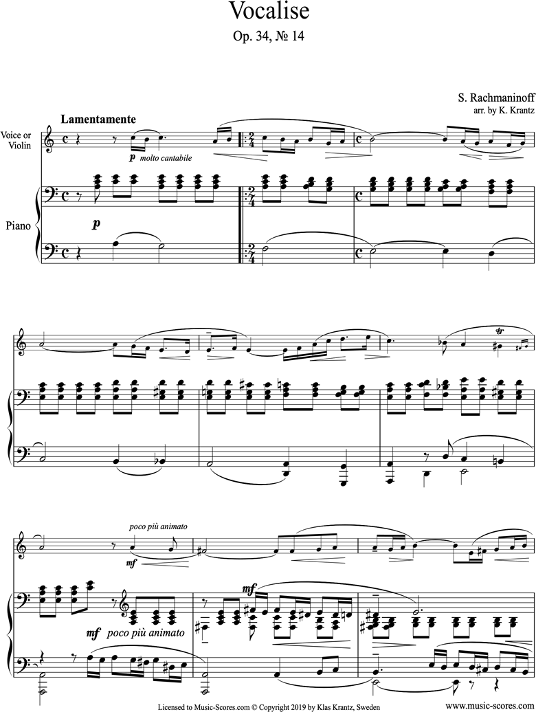 Front page of Op. 34, No.14:Vocalise: Violin, Piano: A minor sheet music