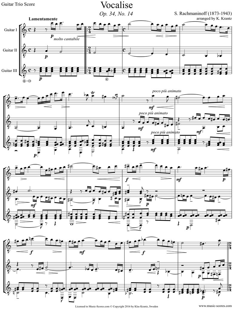 Front page of Op. 34, No.14:Vocalise: Guitar trio sheet music