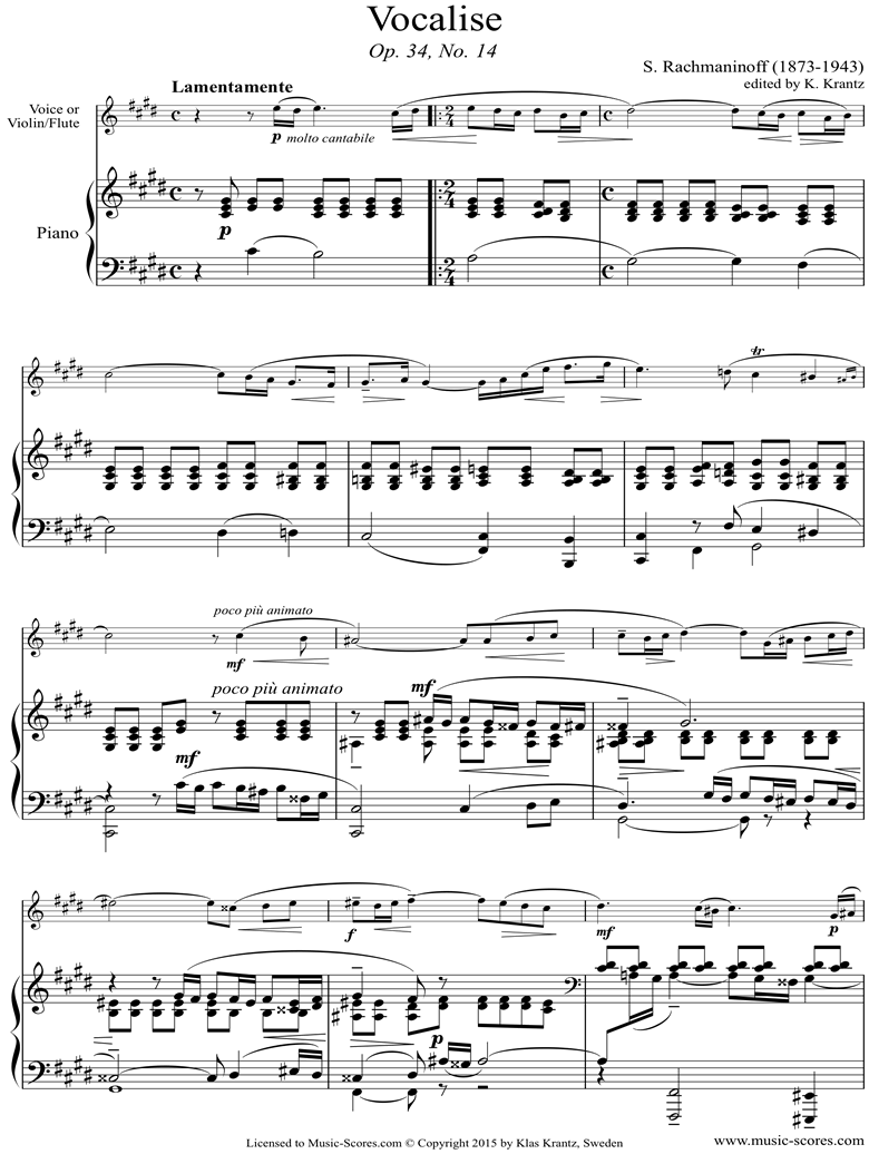 Front page of Op. 34, No.14:Vocalise: Voice sheet music