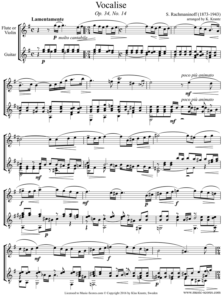 Front page of Op. 34, No.14:Vocalise: Violin, Guitar sheet music