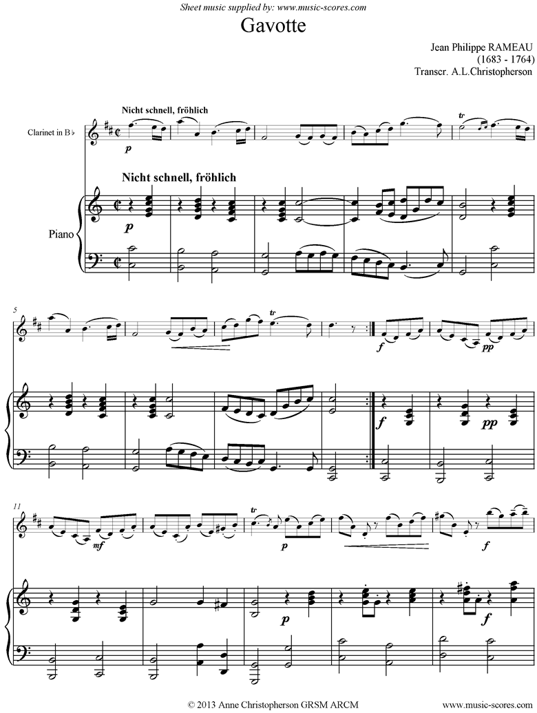 Front page of Gavotte: Clarinet, Piano sheet music