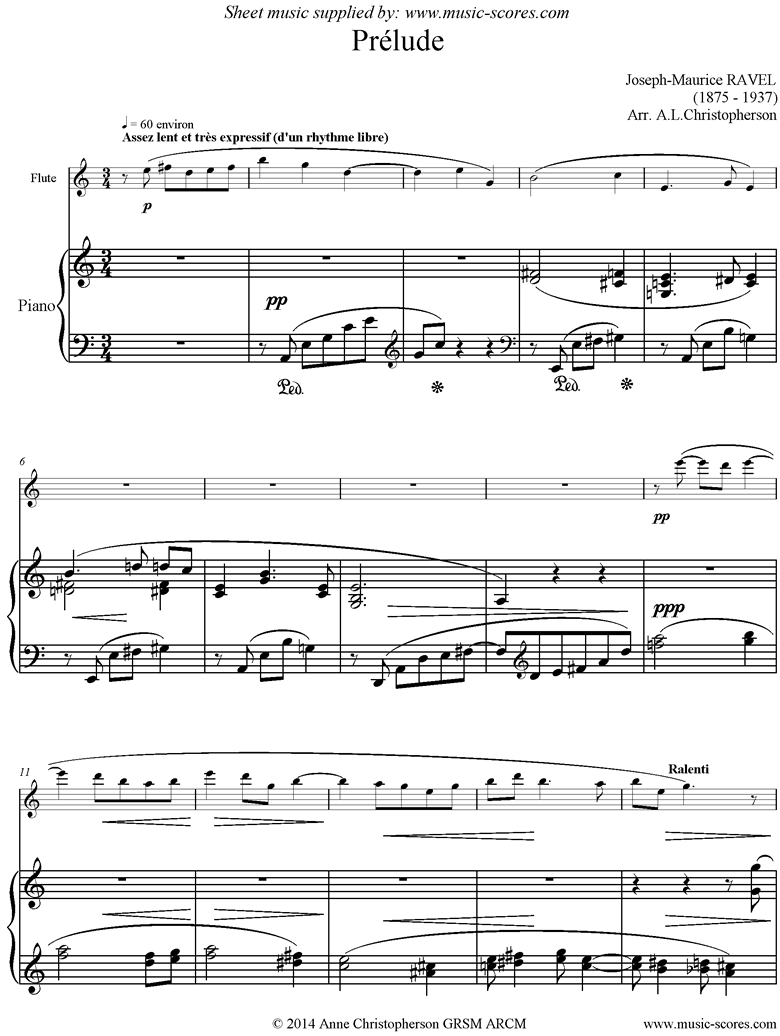 Front page of Prelude Leleu. Flute, Piano sheet music