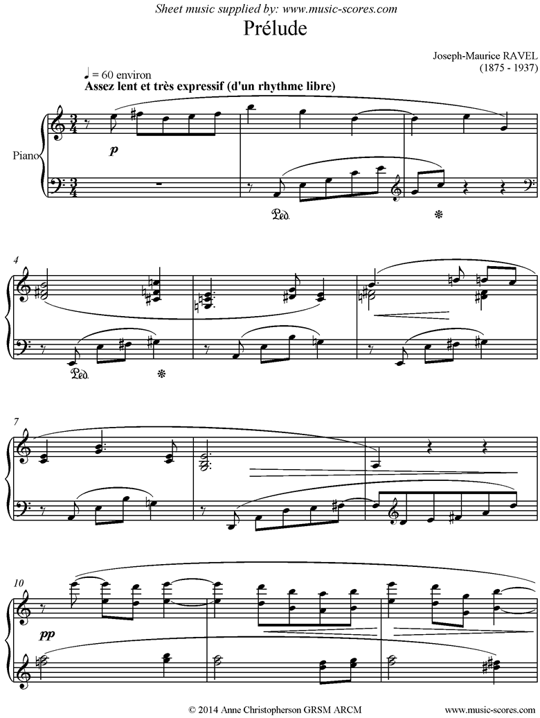 Front page of Prelude Leleu. Piano sheet music