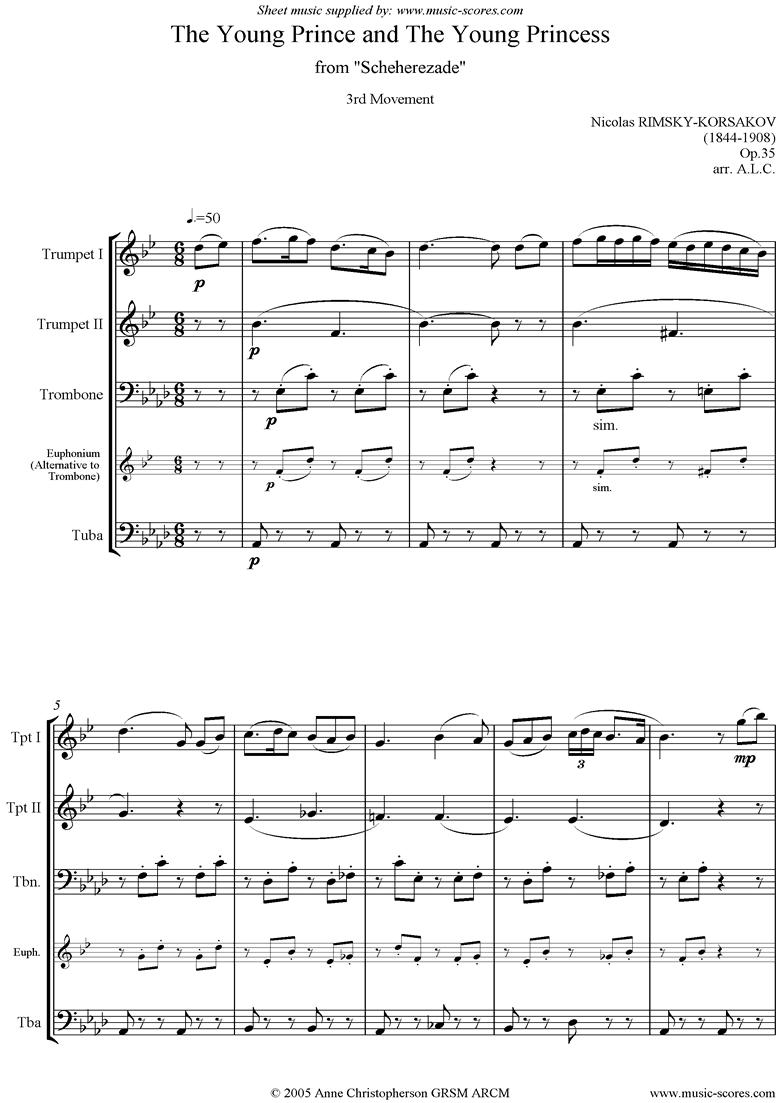 Scheherezade Op. 35: 3rd Mvt: 2 Tpts, Tbn, Tuba by Rimsky-Korsakov