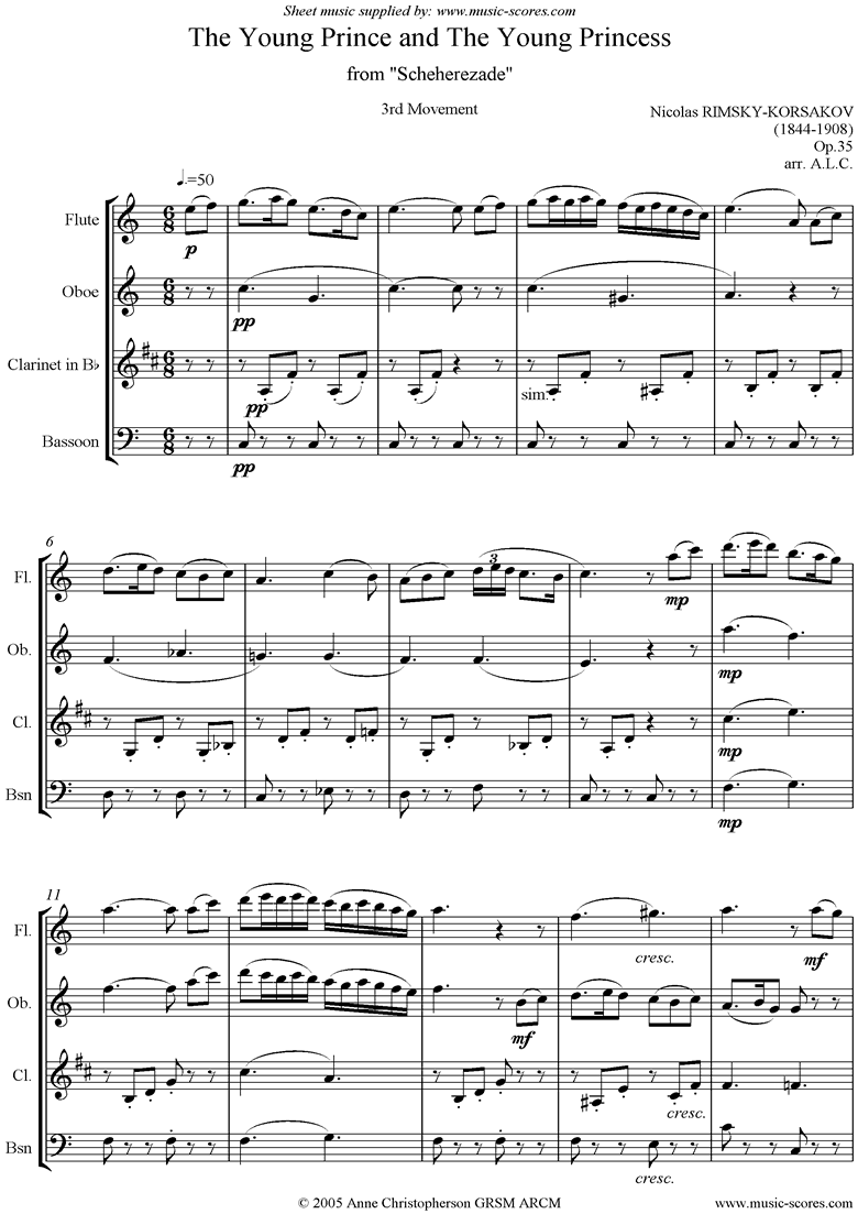 Front page of Scheherezade Op. 35: 3rd Mvt: Fl, Ob, Cl, Fg or BC sheet music