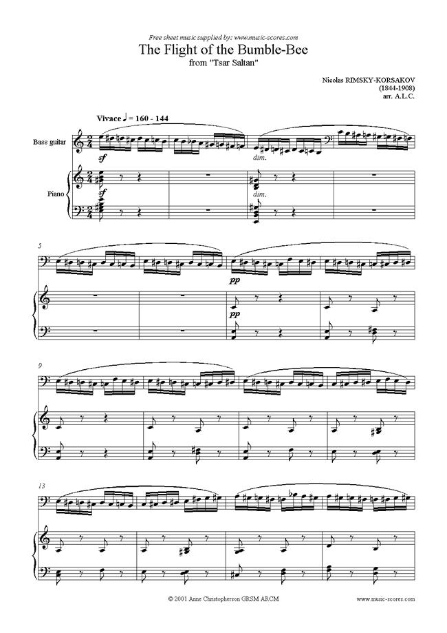 Front page of The Flight of the Bumble-Bee: Tsar Saltan: Bass sheet music