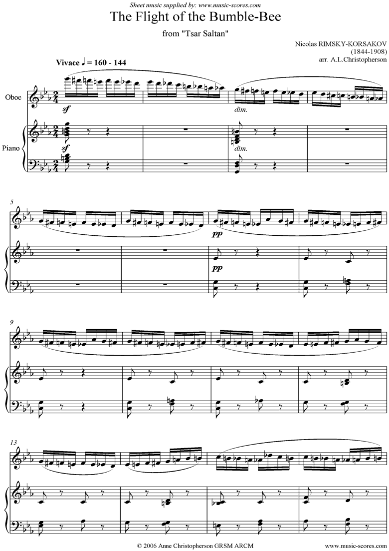 Front page of The Flight of the Bumble-Bee: Tsar Saltan: Oboe sheet music