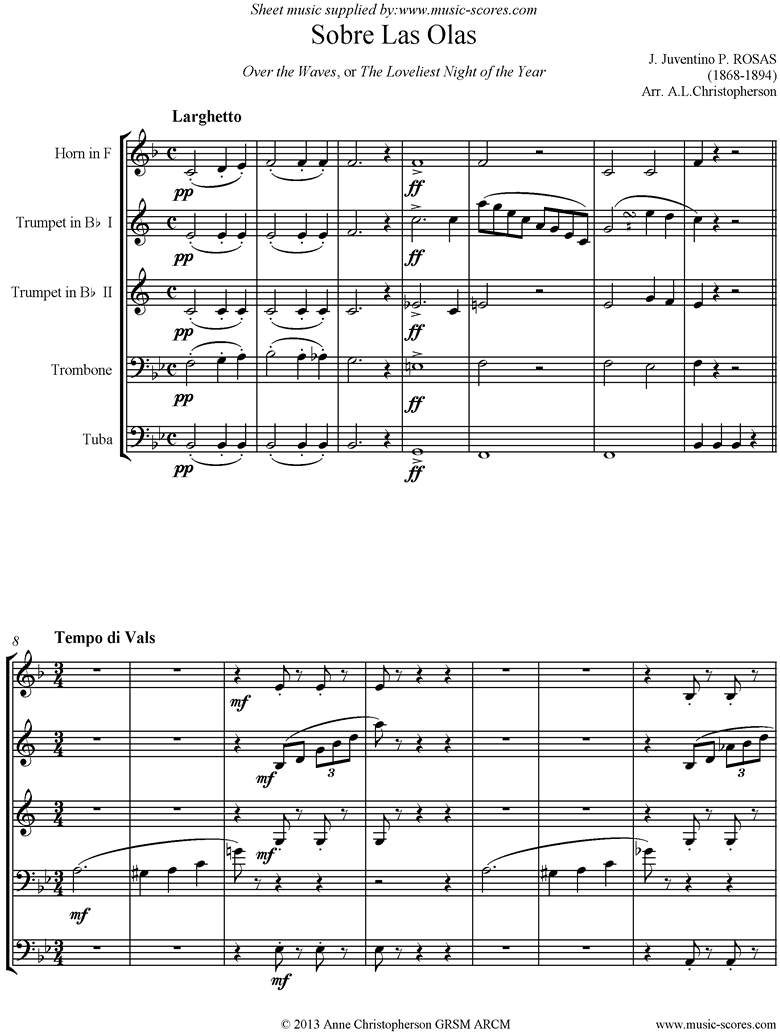 Front page of Sobre Las Olas: Over the Waves: Brass Quintet sheet music