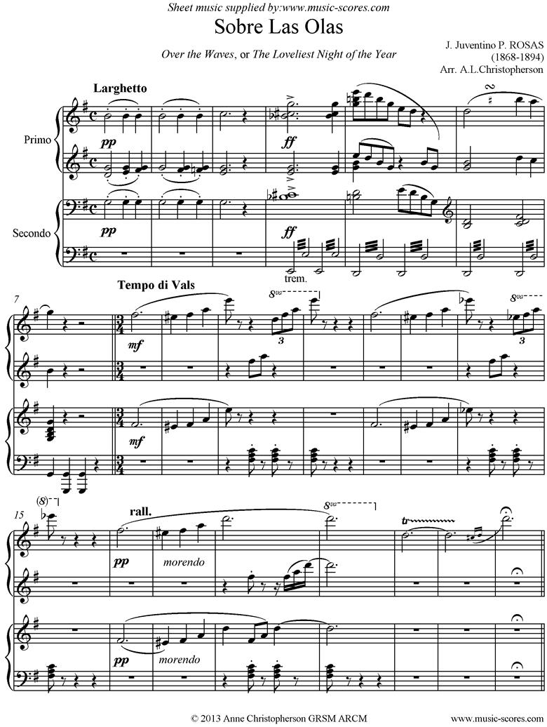 Sobre Las Olas: Over the Waves: Piano Duet by Rosas