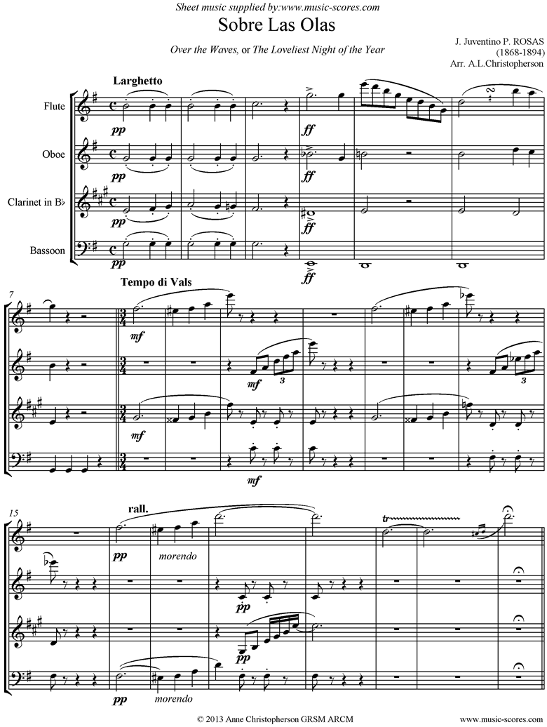 Front page of Sobre Las Olas: Over the Waves: Wind Quartet sheet music