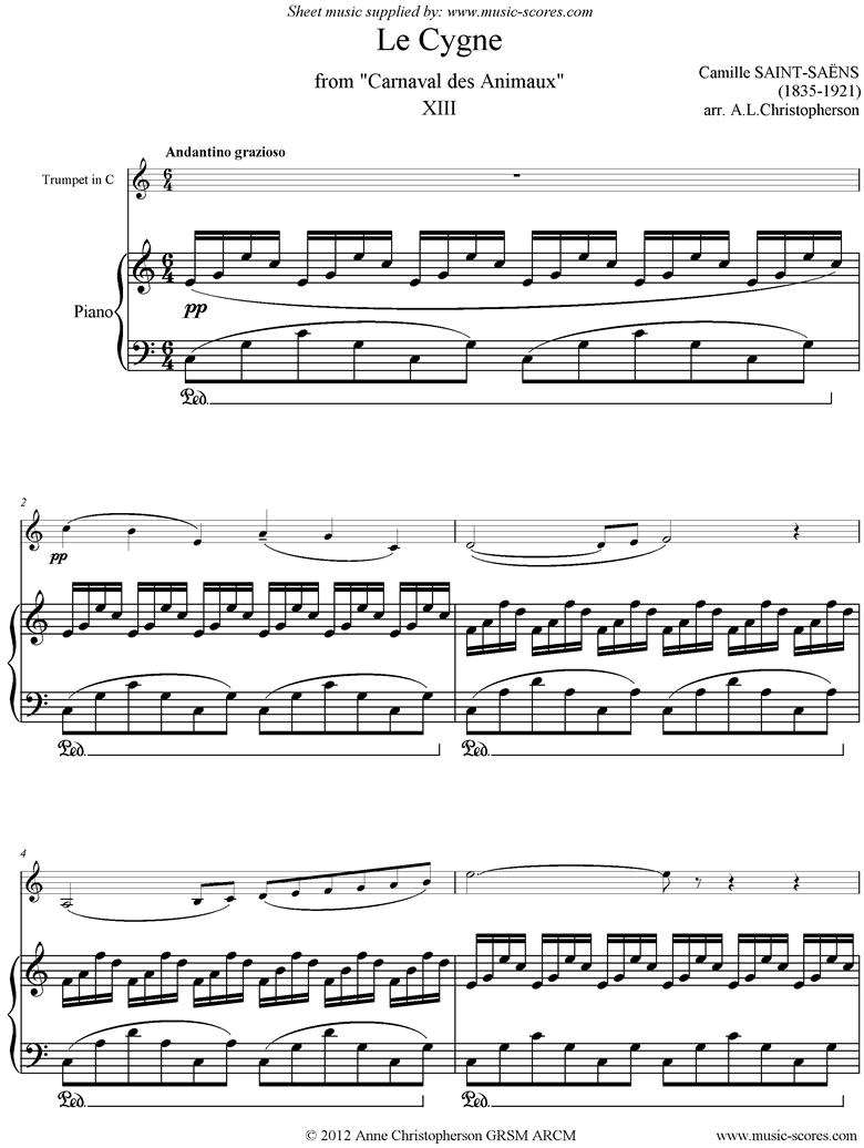 Le Carnaval des Animaux: 13 Le Cygne - trumpet in C by Saint-Saens