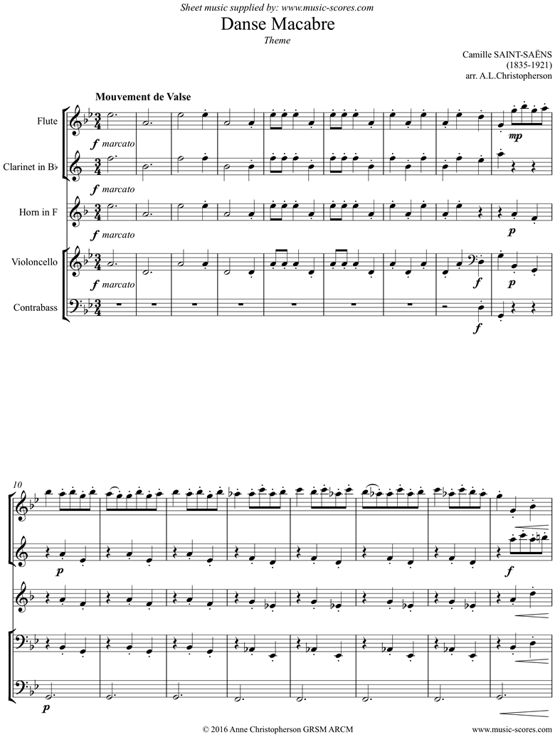 Front page of Danse Macabre theme : Mixed 5: Fl, Cl, Hn, Vc, Cb sheet music