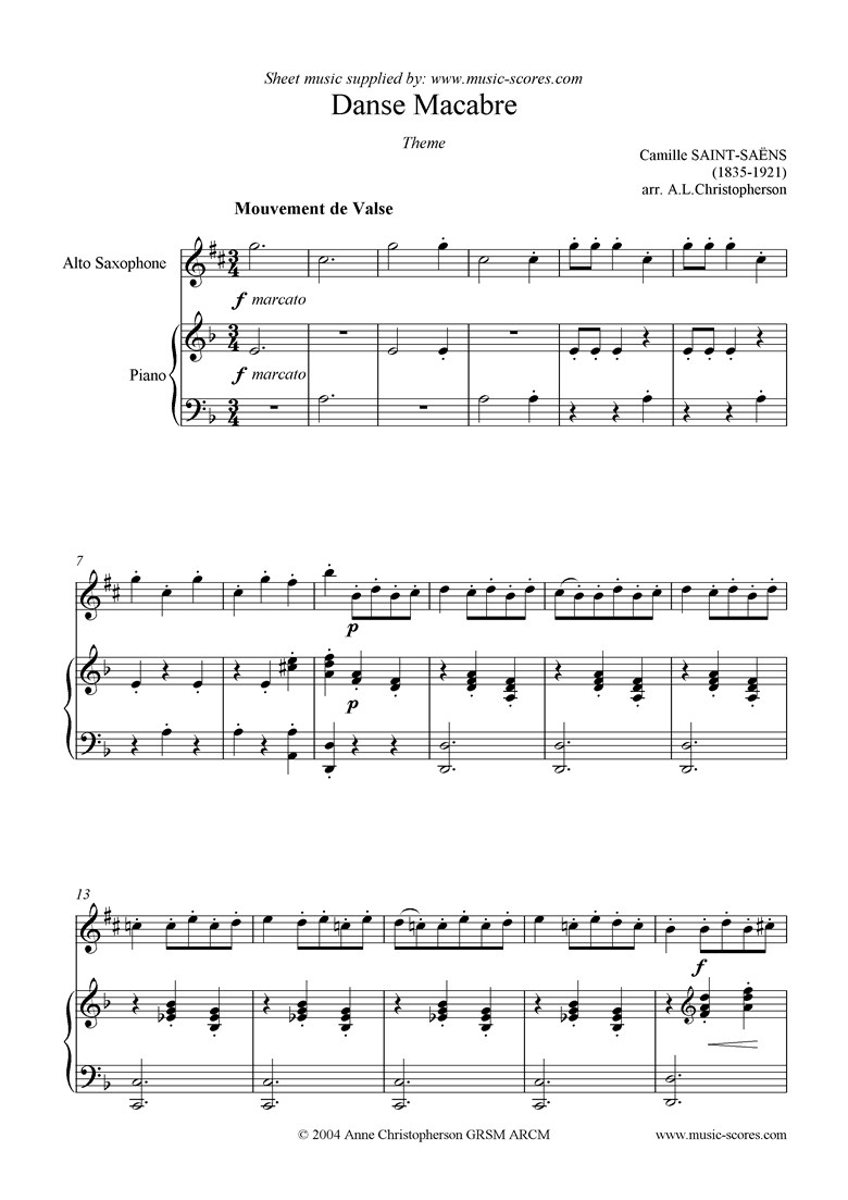 Front page of Danse Macabre theme : alto saxophone sheet music