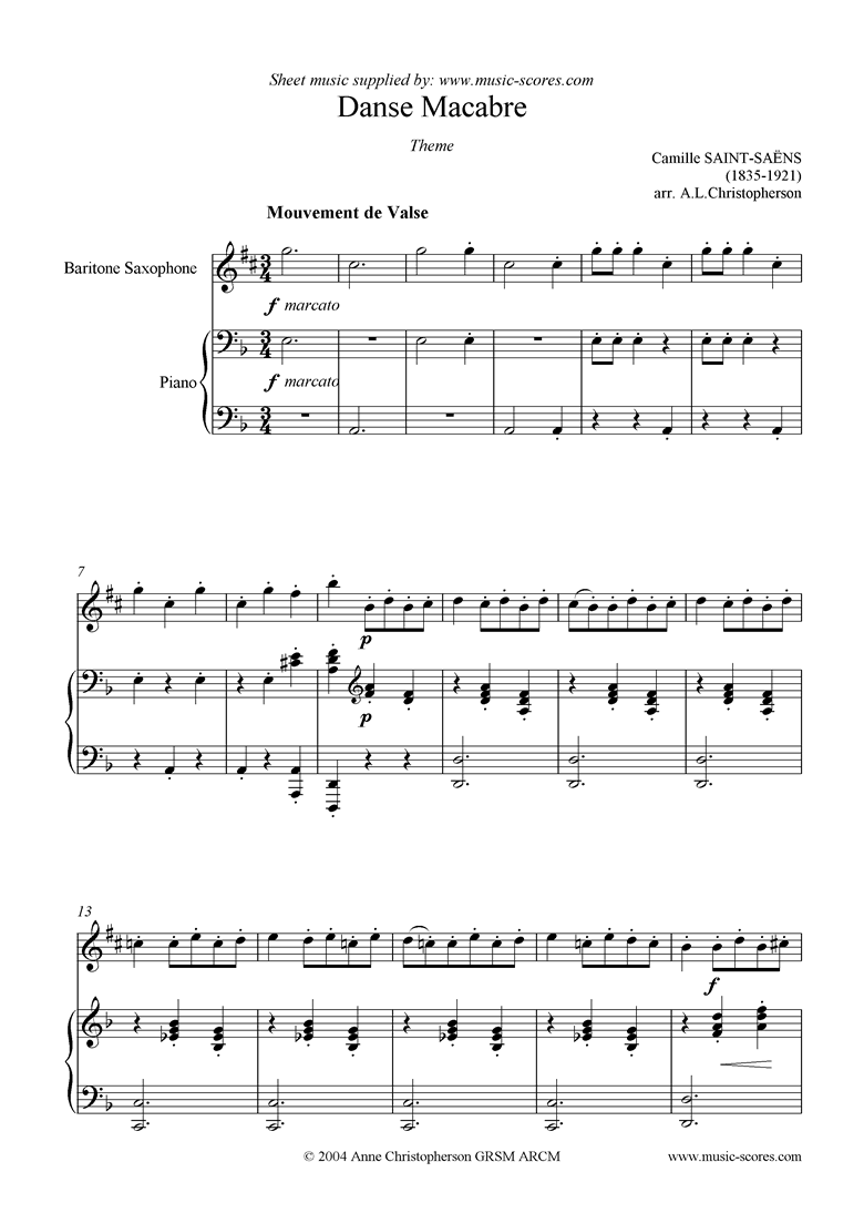 Front page of Danse Macabre theme : Baritone Sax sheet music