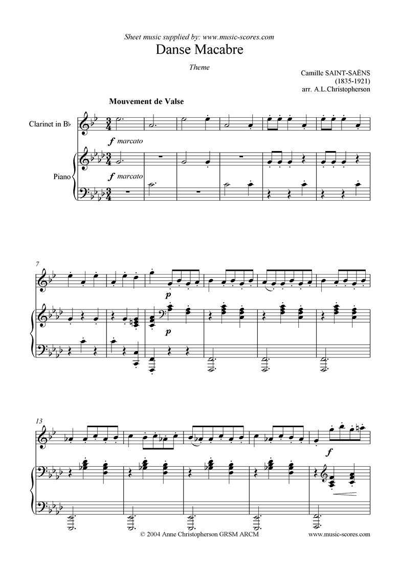 Front page of Danse Macabre theme : clarinet sheet music