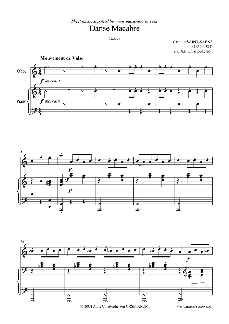 Front page of Danse Macabre theme : oboe sheet music