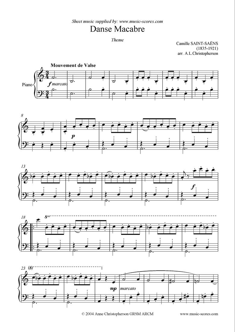 Front page of Danse Macabre theme: Piano sheet music