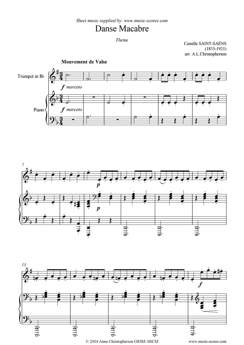 Front page of Danse Macabre theme : trumpet sheet music