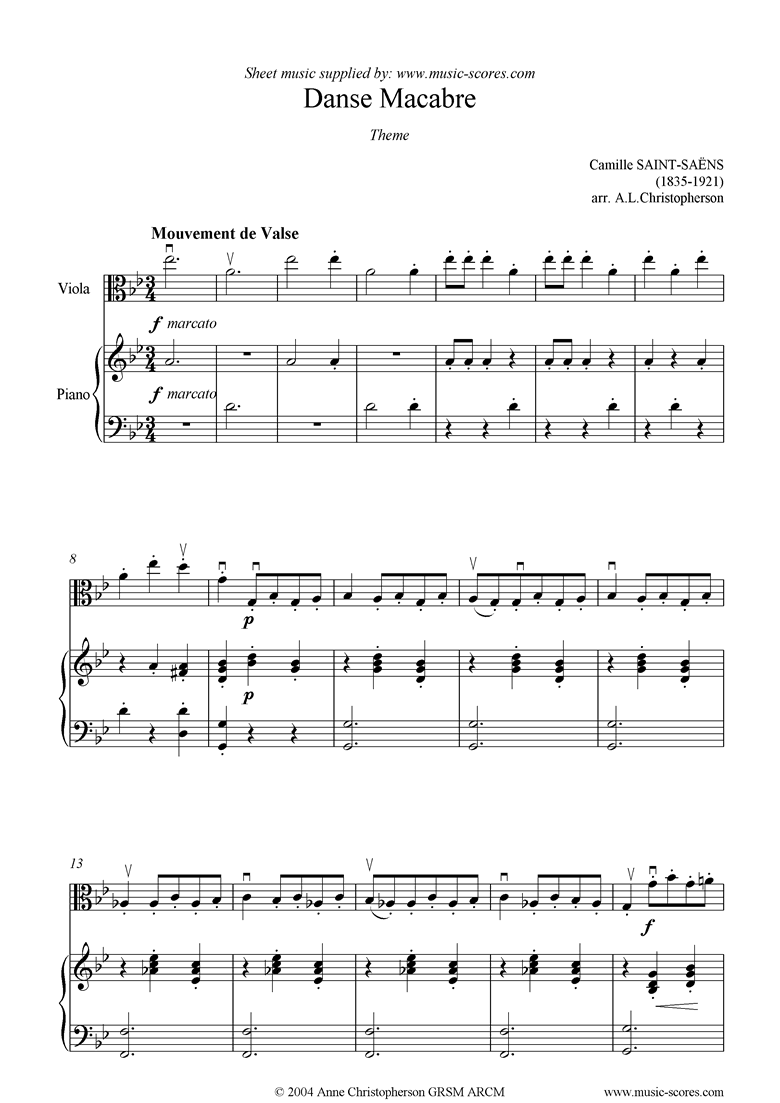 Front page of Danse Macabre theme : viola sheet music