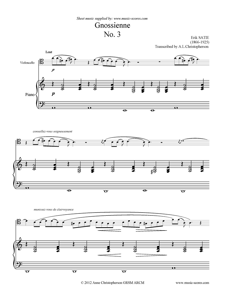 Front page of Gnossienne: No. 3: Cello, Piano sheet music