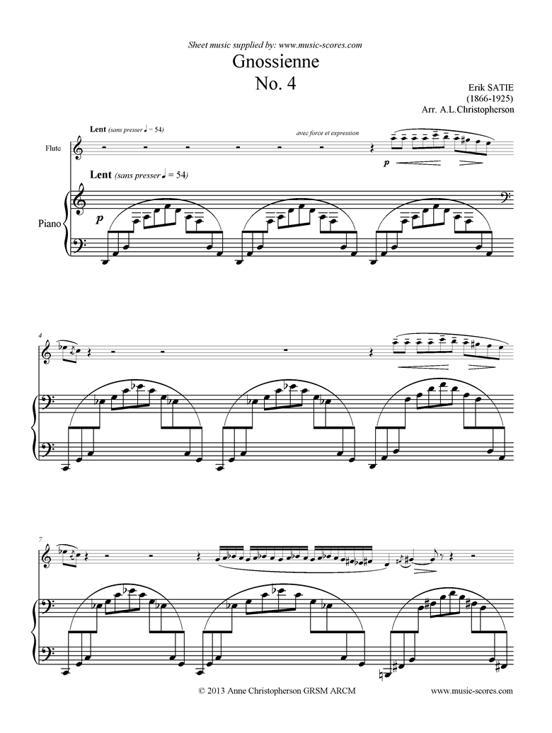 Front page of Gnossienne: No. 4: Flute sheet music