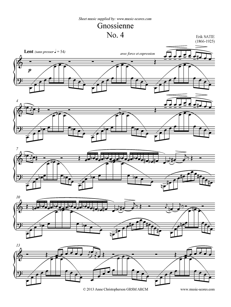 Front page of Gnossienne: No. 4: Piano sheet music