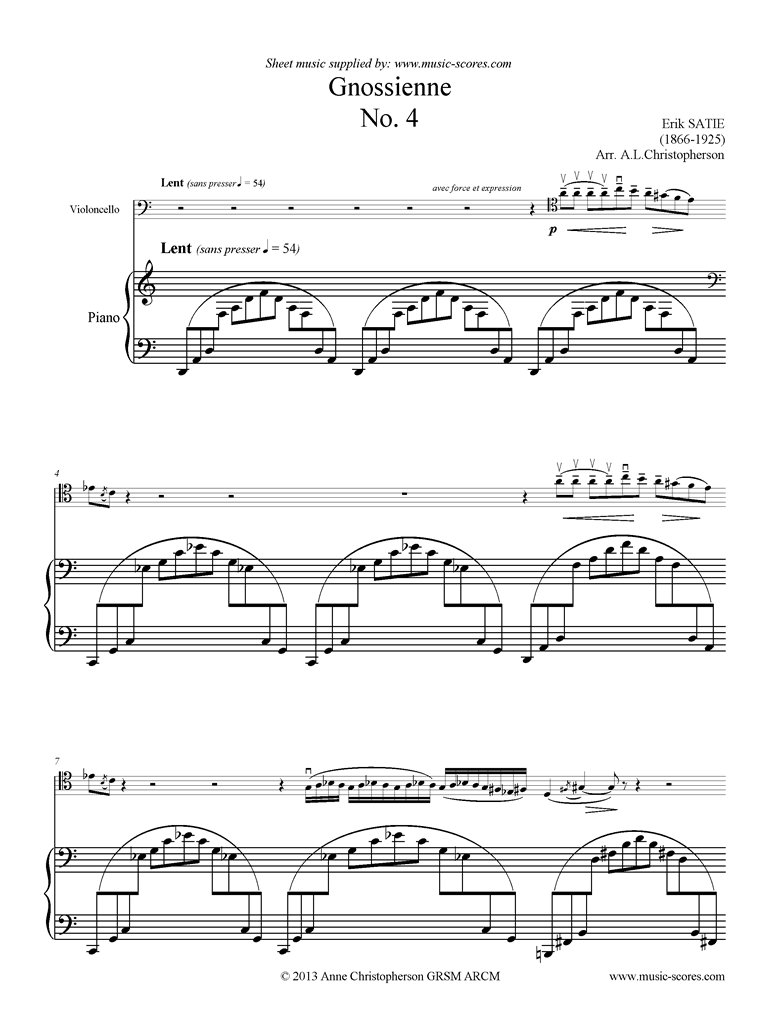 Front page of Gnossienne: No. 4: Cello sheet music