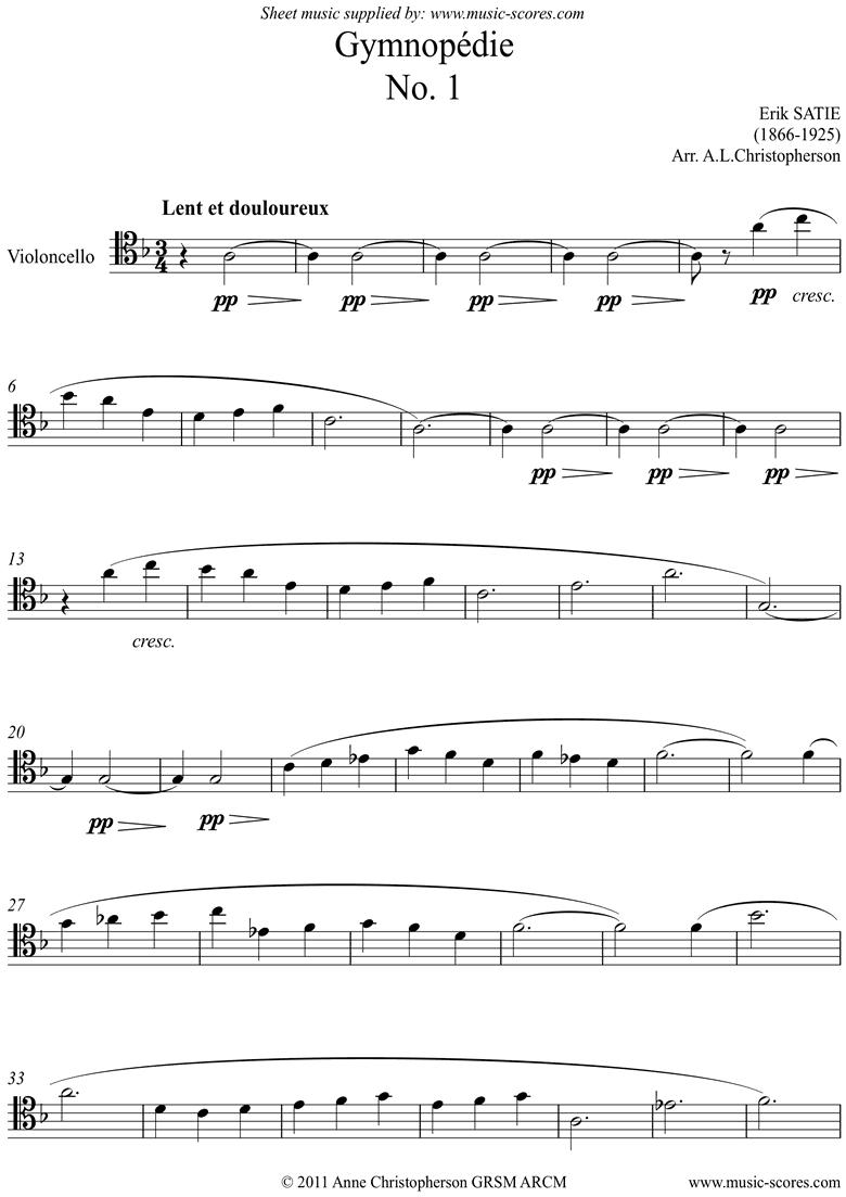 Gymnop�die: No.1: Unaccompanied Cello by Satie
