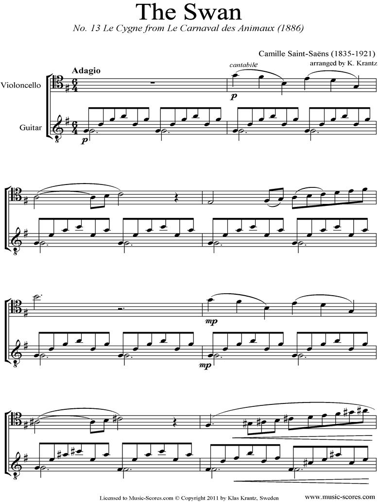 Le Carnaval des Animaux: 13 Le Cygne: Cello, Guitar Gma by Saint-Saens