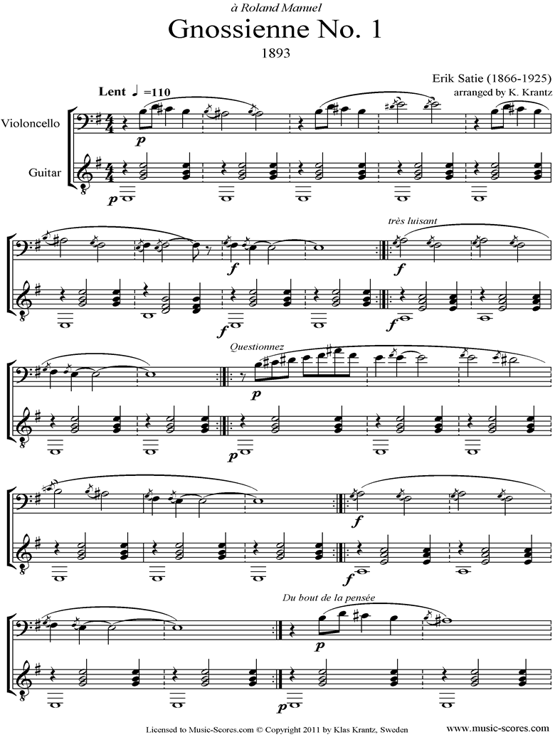 Front page of Gnossienne: No. 1: Cello, Guitar sheet music