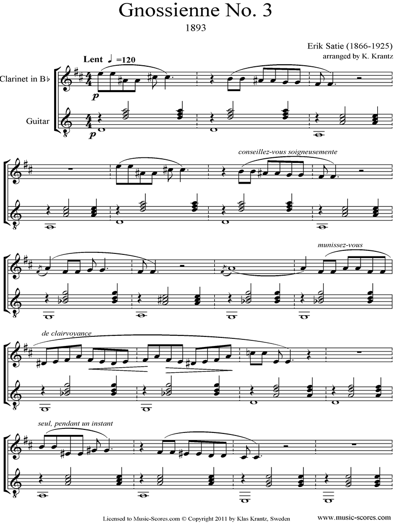 Front page of Gnossienne: No. 3: Clarinet, Guitar sheet music