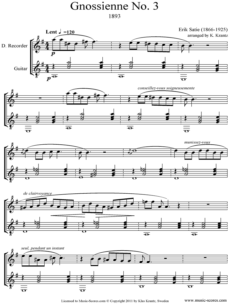 Front page of Gnossienne: No. 3: Descant Recorder, Guitar sheet music