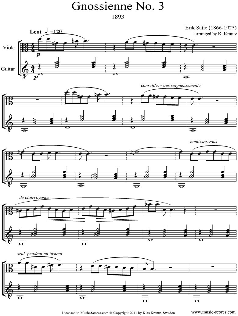 Front page of Gnossienne: No. 3: Viola, Guitar sheet music